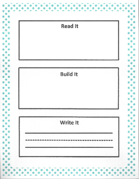Phonological Awareness - Read it , Build it, Write it!