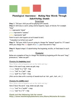 Phonological Awareness:  Substituting Sounds