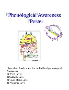 Phonological Awareness Umbrella Poster