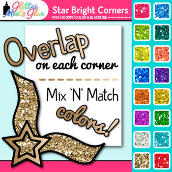 Star Bright Photo Corner Clip Art {Rainbow Glitter Designs