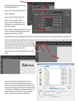 Photoshop Elements Intro Unit Lesson 1: How to Create a Ne
