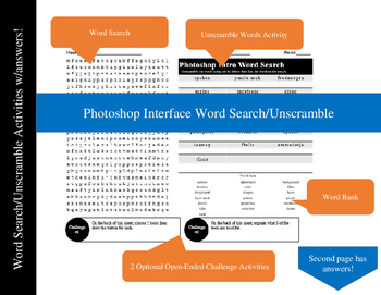 Photoshop Interface Word Search/Unscramble Activity