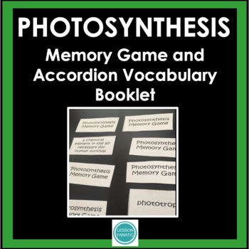 Photosynthesis Vocabulary Memory Game