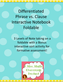 Phrase vs Clause Differentiated Note taking foldable