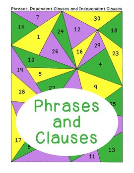 Phrases Dependent and Independent Clauses PDF Printable Se