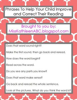 Phrases To Help Your Child Improve & Correct Their Reading
