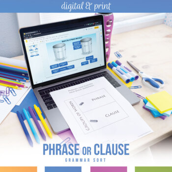 Phrases and Clauses Interactive Notebook Pieces and Scramble