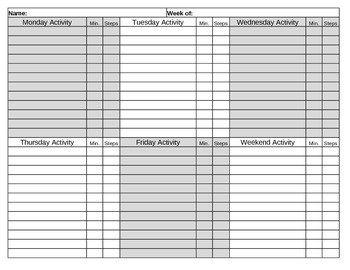 Physical Activity and Fitness Log