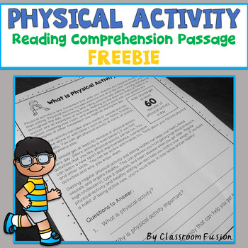 Freebie Physical Activity Reading Comprehension Passage