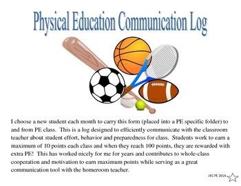 Physical Education Communication Log