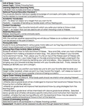 Physical Education Frisbee Lesson Plan *DANIELSON FORMAT w