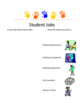 Physical Education Job Chart