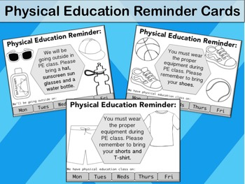 Physical Education Reminder Cards - Shoe Reminder, Clothes