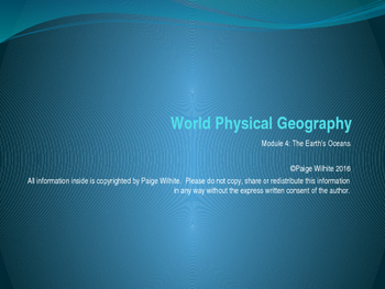 Physical Geography Earth Sciences Power Point: The Oceans