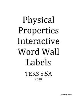 Science TEKS 5.5A Physical Properties Interactive Word Wal