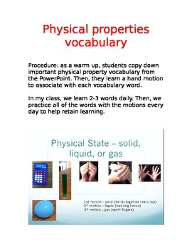 Physical Properties Vocabulary