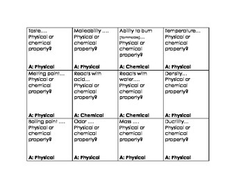 Physical Properties and Chemical Properties Quiz Cards