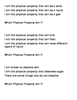 Physical Properties and Mixtures and Solutions Review Game
