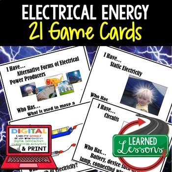 Physical Science Electrical Energy 24 I Have Who Has Game Cards