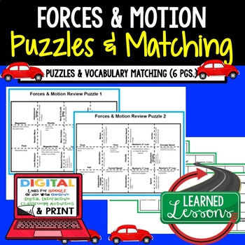 Physical Science Forces & Motion Puzzles & Vocabulary Matching