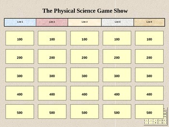 Physical Science Jeopardy
