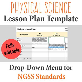 Physical Science Lesson Plan Template - Drop Down NGSS Standards
