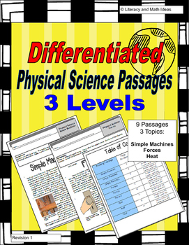 Physical Science Passages Differentiated (Lexiles 649-875)