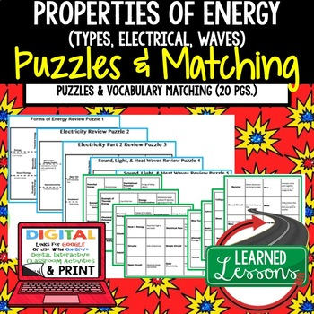 Physical Science Properties of Energy Puzzles & Vocabulary