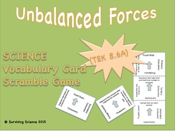 Physical Science Vocabulary Scramble : UNBALANCED FORCES (