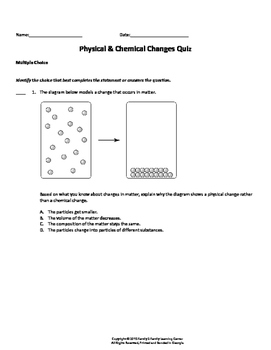Physical and Chemical Change Quiz