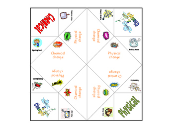 Physical and chemical change chatterbox cootie catcher for