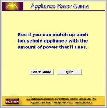 Physics - Appliance Power Game - PC & MAC Flash Version