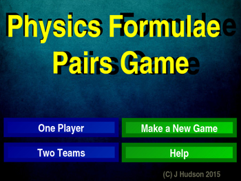 Physics Formulae Interactive Matching Pairs Game
