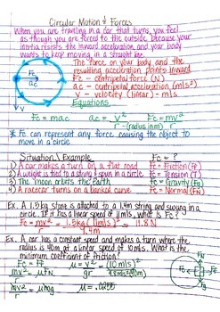 Physics Interactive Notebook Notes: Circular Motion and Forces