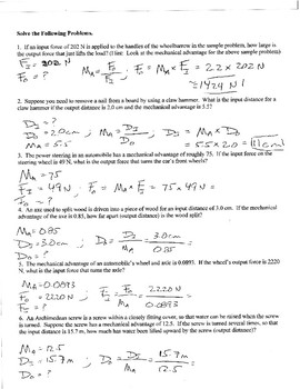 Collection of Calculating Mechanical Advantage Worksheet - Sharebrowse