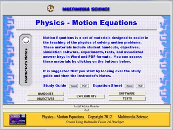 Physics Motion Equations Unit - Click & Teach Bundle