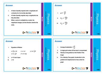 Physics - Motion flash cards