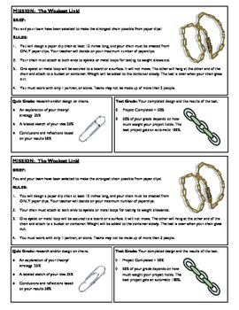 STEM Lab Science Experiment - paper clip chains material s