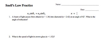Physics Snell's Law Practice Problems