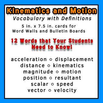 Physics Word Wall Vocabulary w/Definitions for Kinematics
