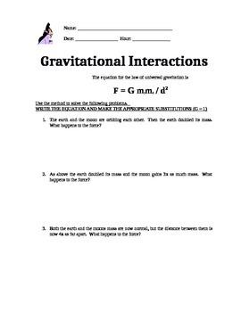 Physics worksheet on Universal Gravitation