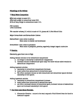 Physiology of the Kidney Quick Review Notes and Handout