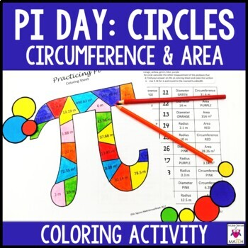 Pi Day Circle Circumference and Area Middle School Math