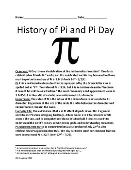Pi Day - History of Pi and Pi Day - lesson facts informati