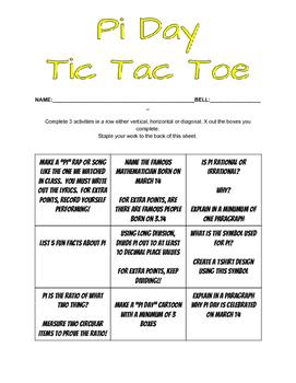 Pi Day Tic Tac Toe
