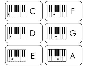 Piano Keys Flashcards. Beginning Music. Preschool-2nd Grad