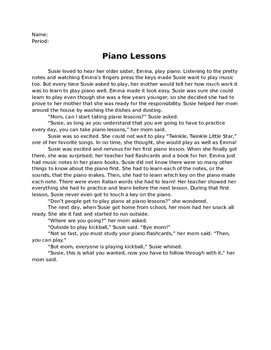 Piano Lessons - Close Reading Questions