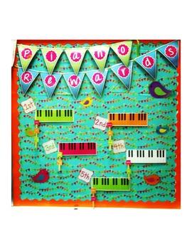 Piano Rewards Bulletin Board Kit- Elementary Music  Reward