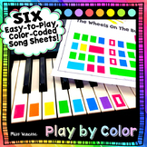 6 Easy-To-Learn, Easy-To-Play Color-Coded Song Sheets ~ Pl