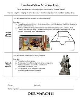 Pick 2 Museum Project - Shoebox or Living Museum